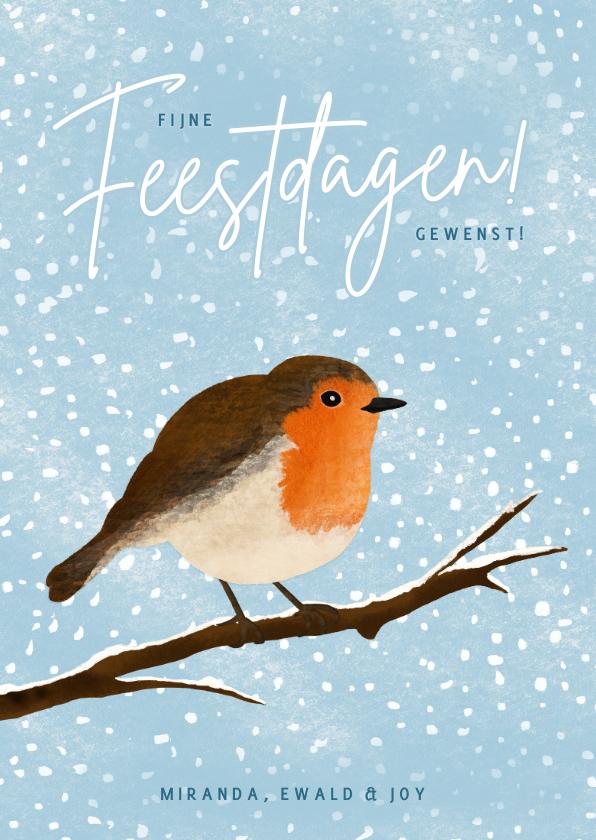 Kerstkaarten - Kerskaart met illustratie van roodborstje in de winter