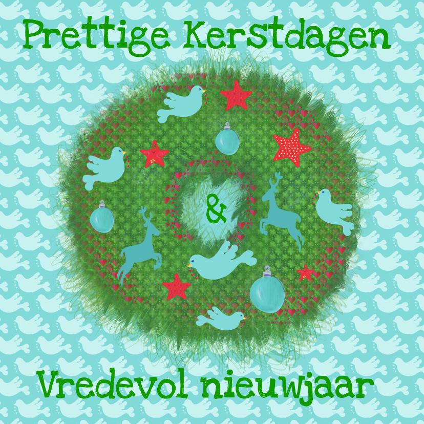 Kerstkaarten - Kerskaart vredeskrans