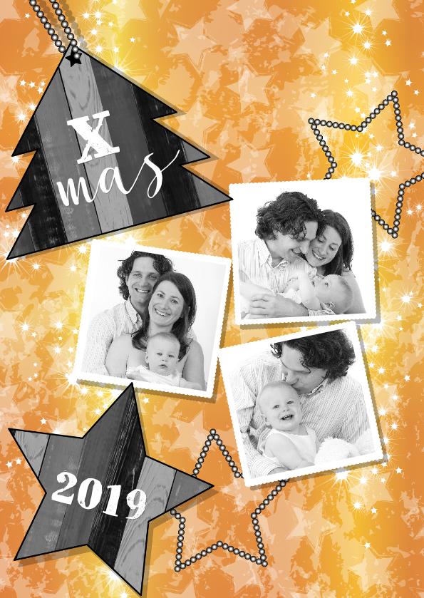 Kerstkaarten - Kerst 3 fotos goud boom S-HB