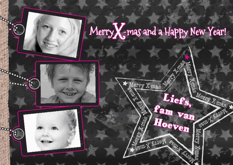 Kerstkaarten - Kerst 3 fotos STER grijs roze L