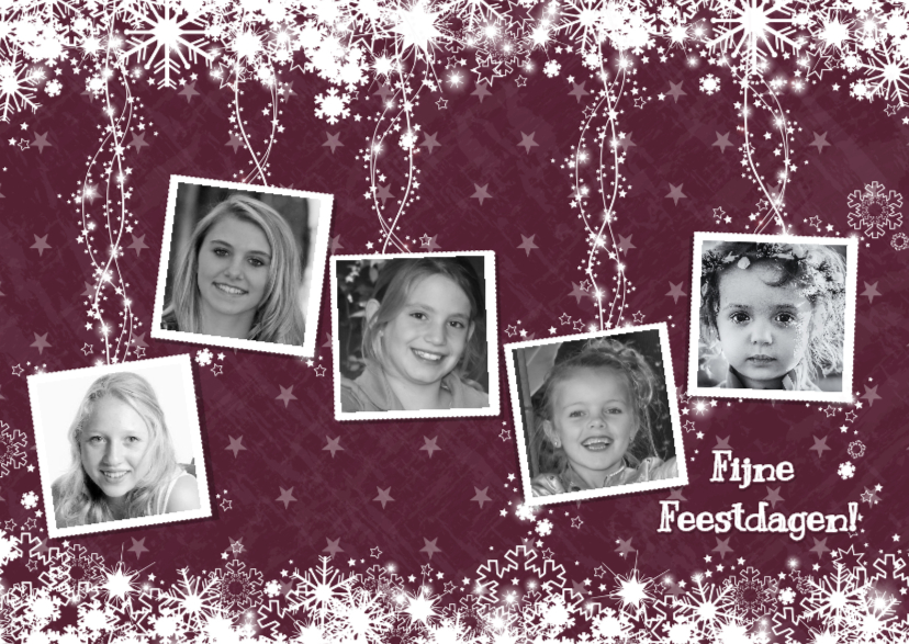 Kerstkaarten - Kerst 5 fotos sprankelend ster S