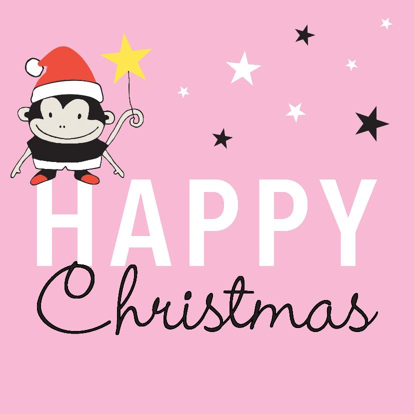Kerstkaarten - Kerst aapje sterren roze - MW