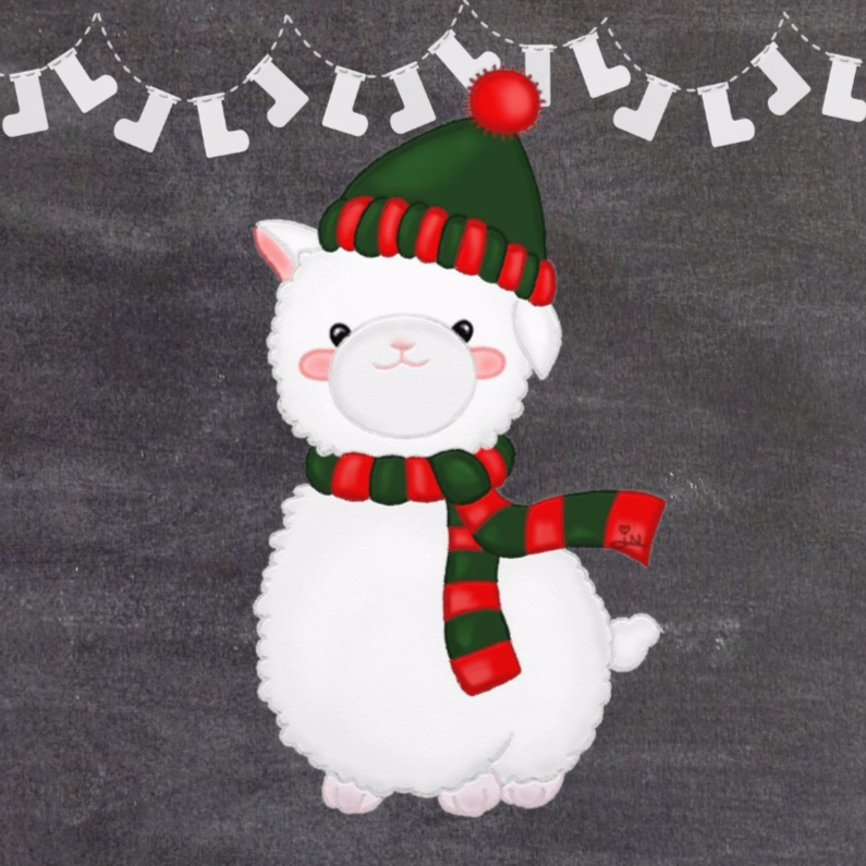 Kerstkaarten - Kerst Alpaca op Krijtbord - TbJ