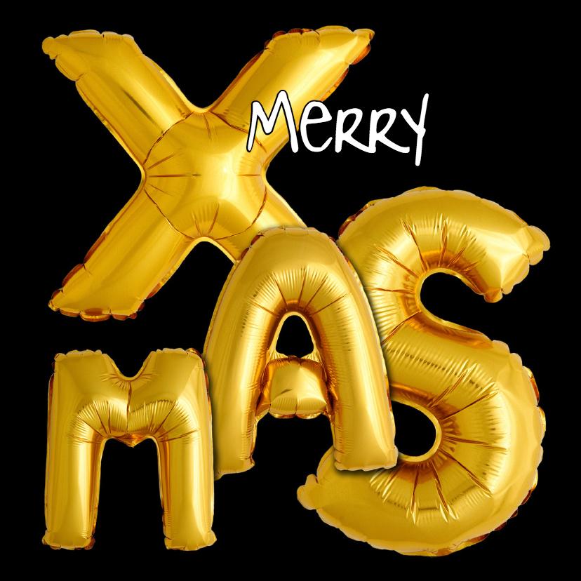 Kerstkaarten - Kerst ballonnen goudkleurig - OT