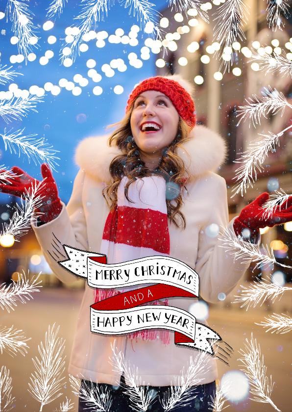 Kerstkaarten - Kerst banner en sparretakken fotokaart