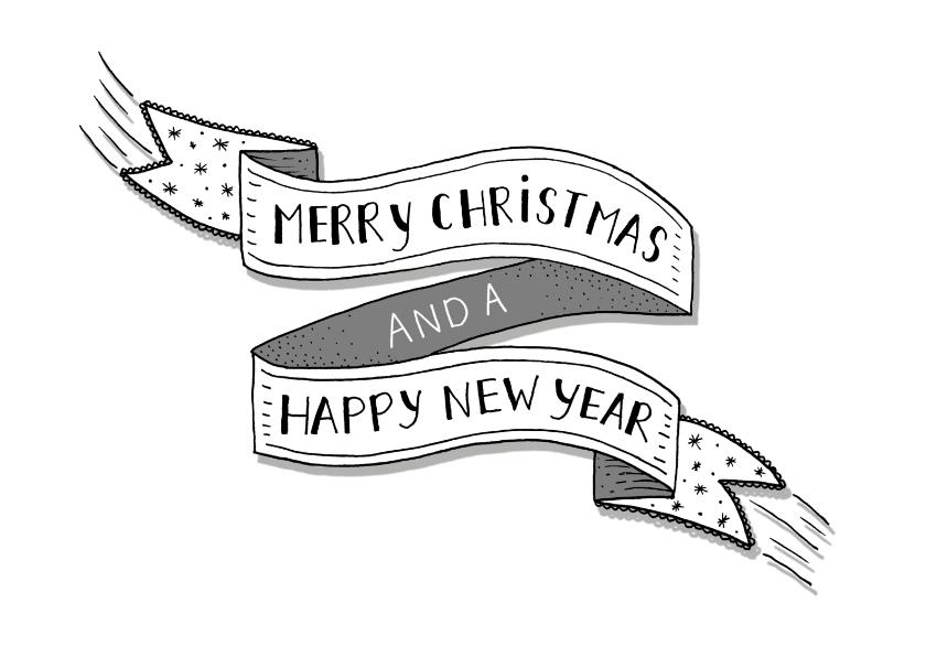 Kerstkaarten - Kerst banner zwart-wit liggend
