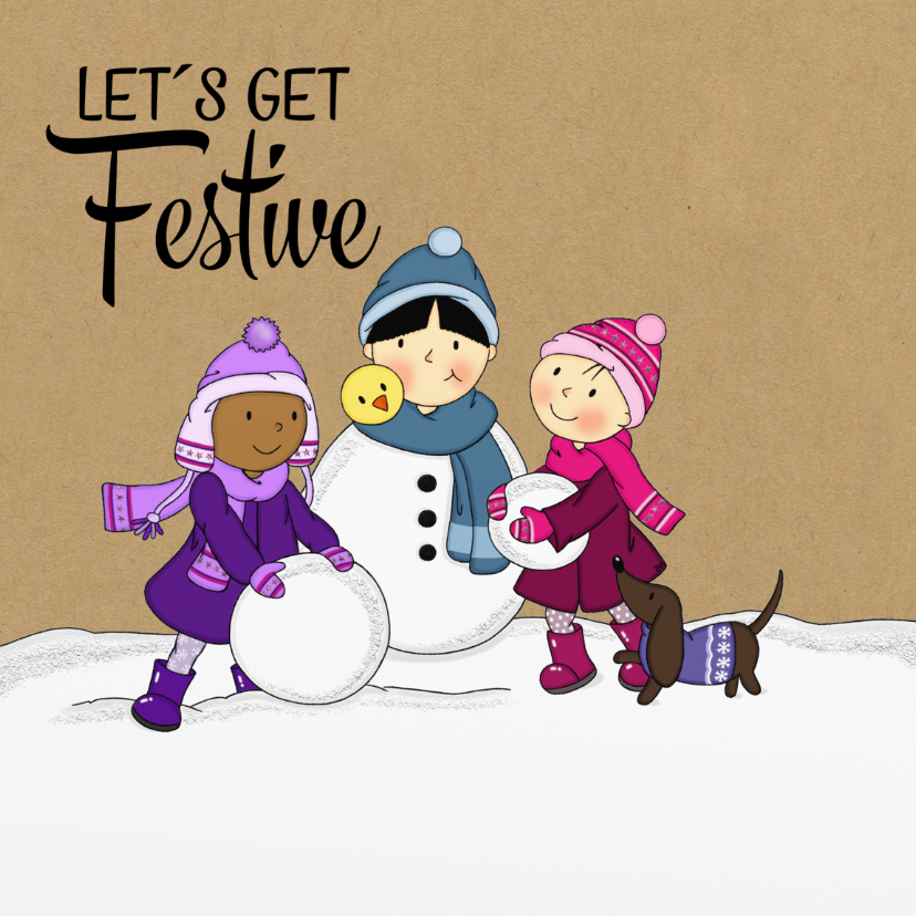 Kerstkaarten - Kerst Bebe & zusjes sneeuw - TbJ