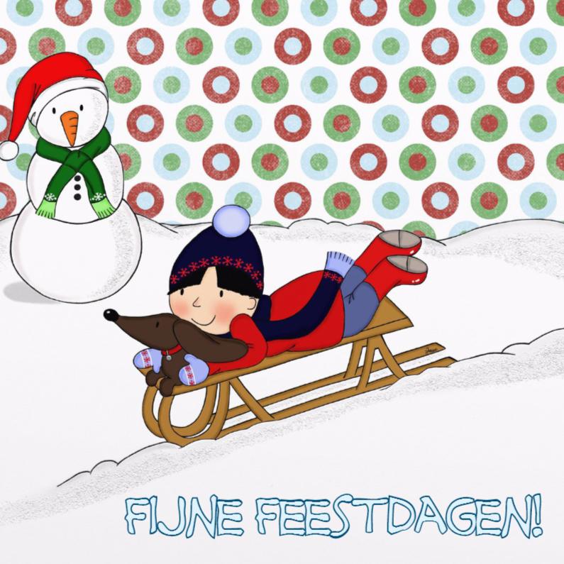 Kerstkaarten - Kerst Bebe Slee - TbJ