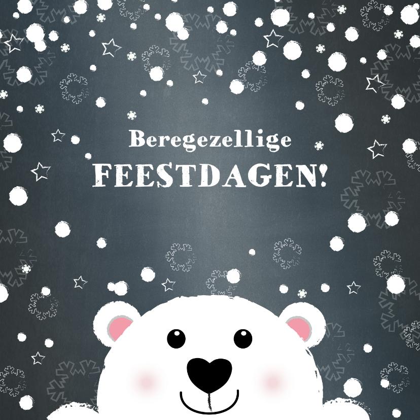 Kerstkaarten - Kerst beregezellige feestdagen lief ijsbeertje in sneeuw