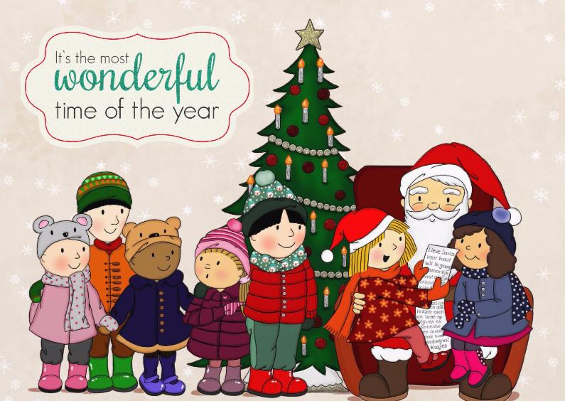 Kerstkaarten - Kerst Bezoek Kerstman - TbJ