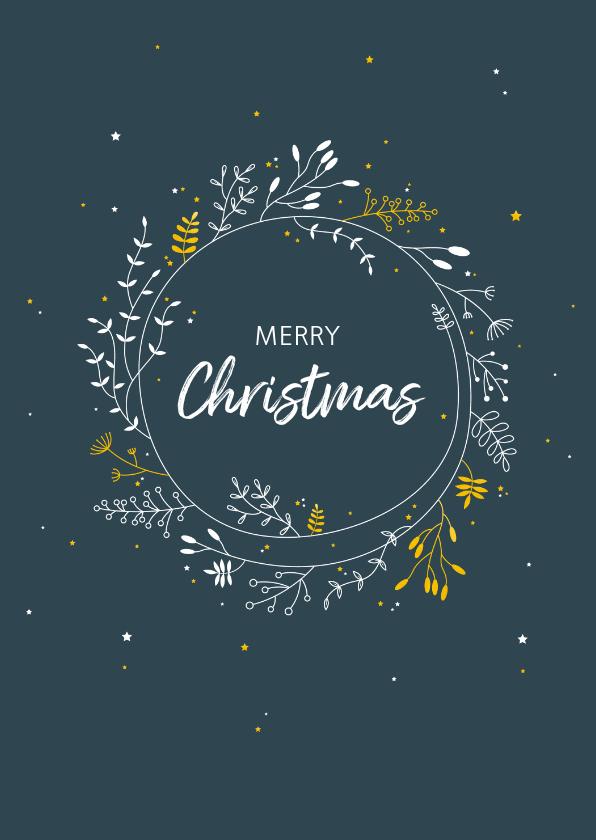 Kerstkaarten - Kerst - Botanische cirkel met goudlook
