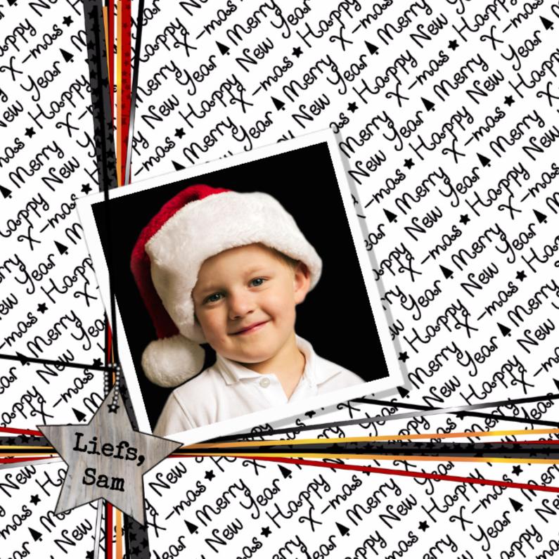 Kerstkaarten - Kerst cadeau foto lintjes V-HB