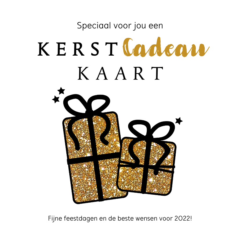 Kerstkaarten - Kerst Cadeau-kaart goudkleurige glitter cadeautjes