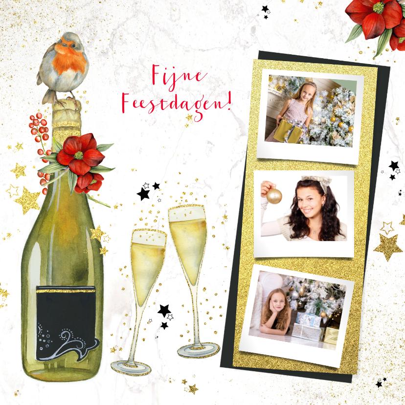 Kerstkaarten - Kerst champagne glazen