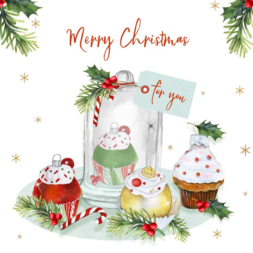 Kerstkaarten - Kerst cupcakeornament