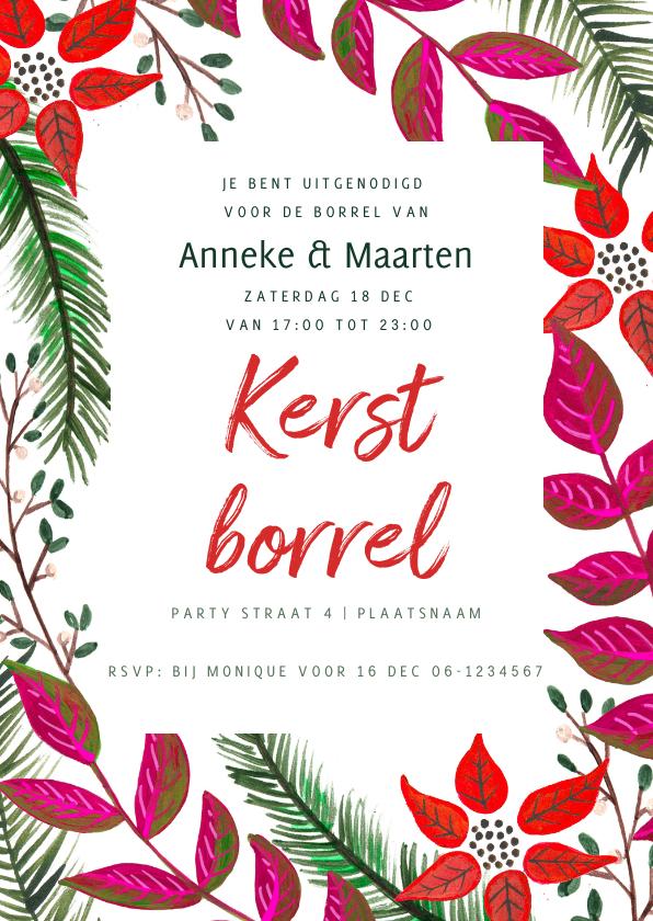 Kerstkaarten - Kerst diner botanisch kerst takjes