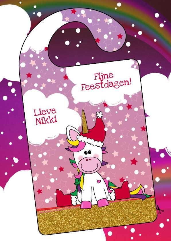 Kerstkaarten - Kerst DIY vrolijke kerstkaart met unicorn deurhanger