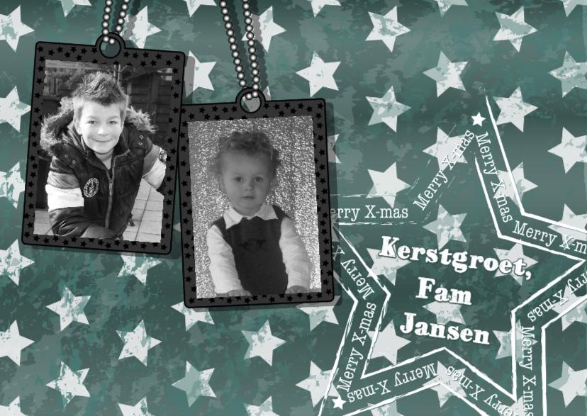 Kerstkaarten - KERST donker groen ster FOTO L