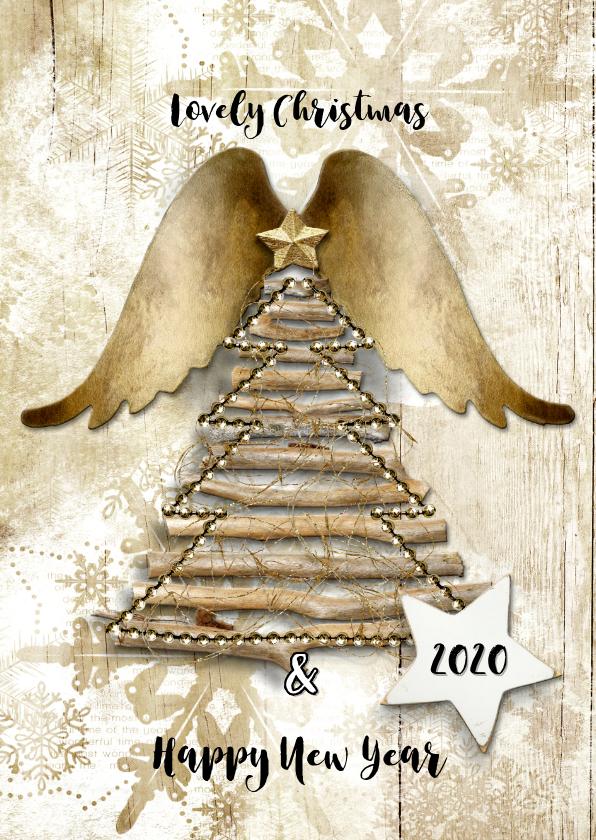 Kerstkaarten - Kerst duurzaam houtlook 2019 engel