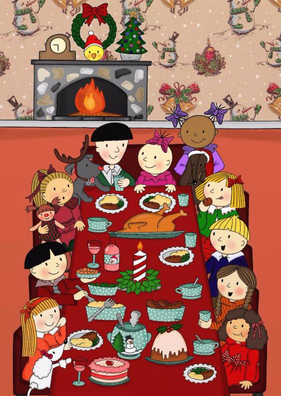 Kerstkaarten - Kerst Een feestelijk diner - TbJ