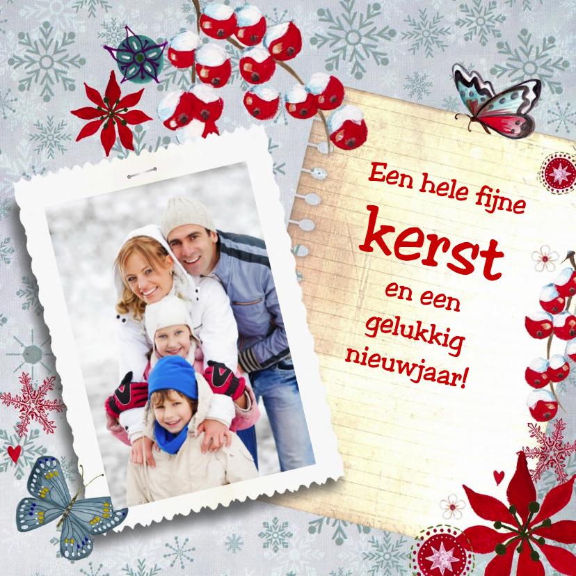 Kerstkaarten - Kerst eigen foto Blue SNEEUW notitie