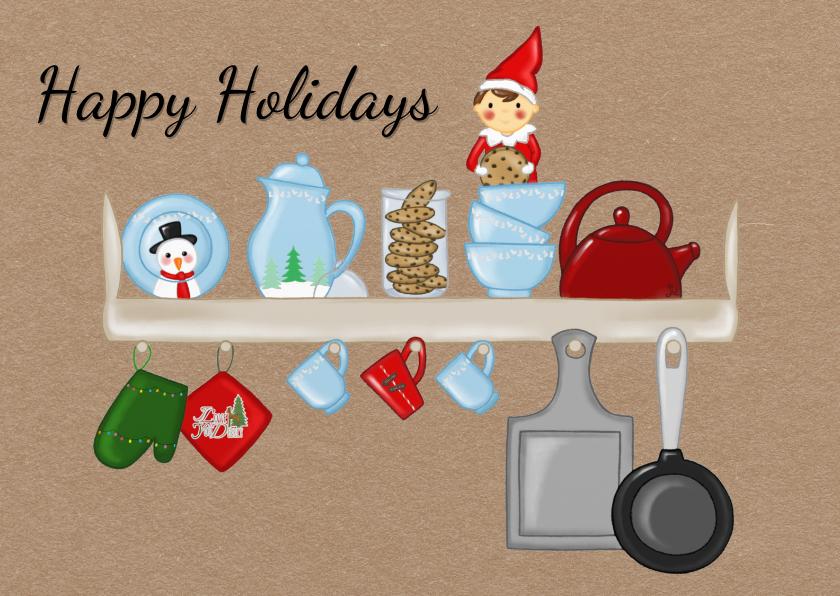 Kerstkaarten - Kerst Elf on a Shelf - TbJ
