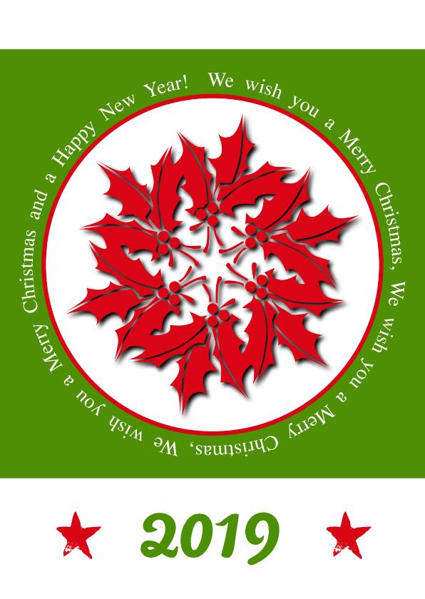 Kerstkaarten - Kerstkaart en Nieuwjaarskaart rood groen 2019