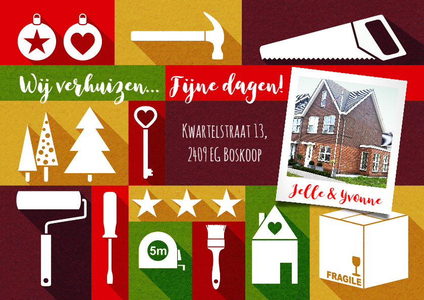 Kerstkaarten - Kerst en verhuiskaart eigen foto strak