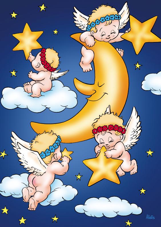 Kerstkaarten - kerst engeltjes 3 engeltjes met maan