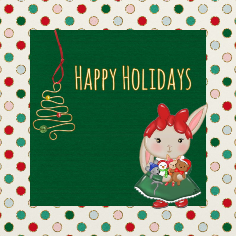 Kerstkaarten - Kerst Feest Bunny - TbJ