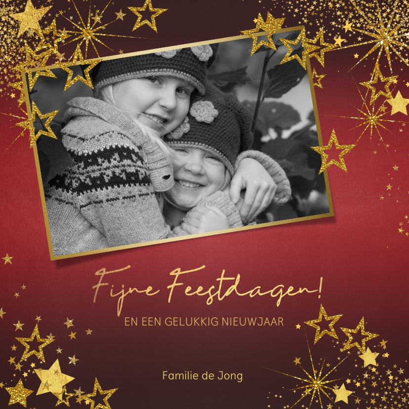 Kerstkaarten - Kerst feestelijke rode foto kerstkaart gouden sterren