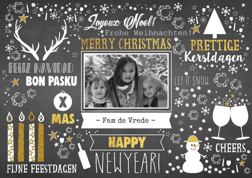Kerstkaarten - Kerst feestelijke typografische kaart met krijtbord-look