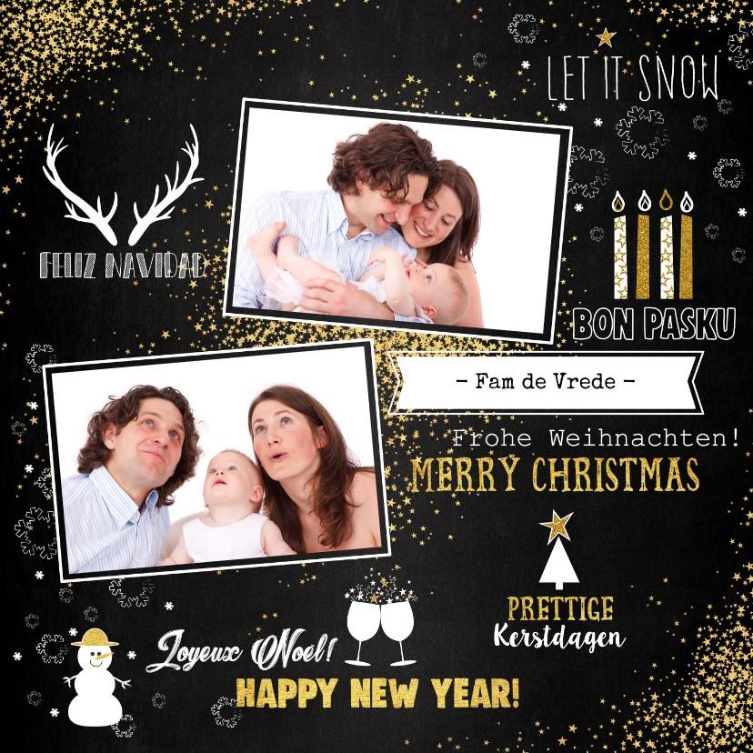 Kerstkaarten - Kerst feestelijke typografische kaart sterren met 2 foto's