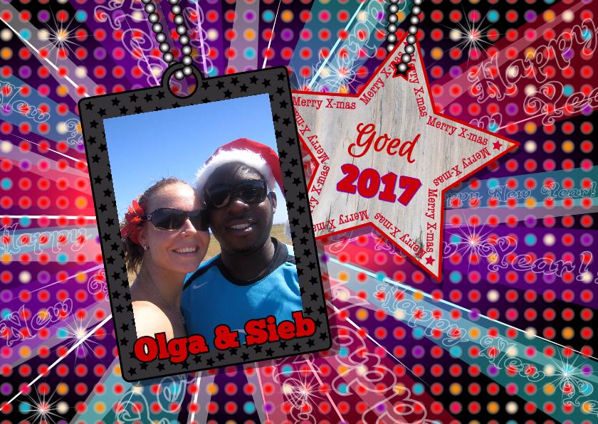 Kerstkaarten - kerst foto disco kleur hout ster