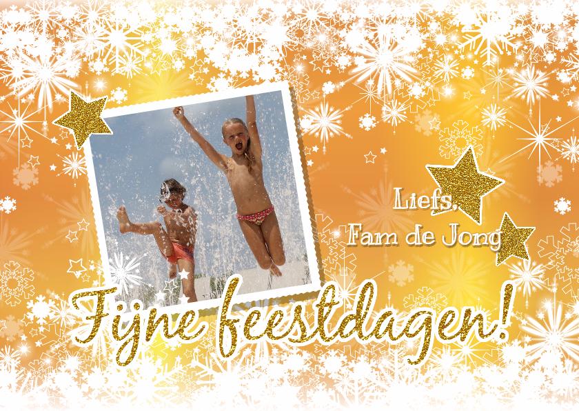 Kerstkaarten - Kerst foto goud glitter sneeuw L