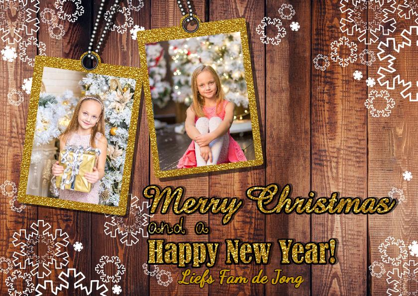 Kerstkaarten - Kerst foto hout glitter goud