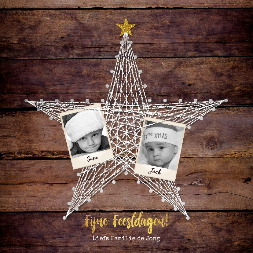 Kerstkaarten - Kerst foto kaart hout met een ster van spijkers en touw