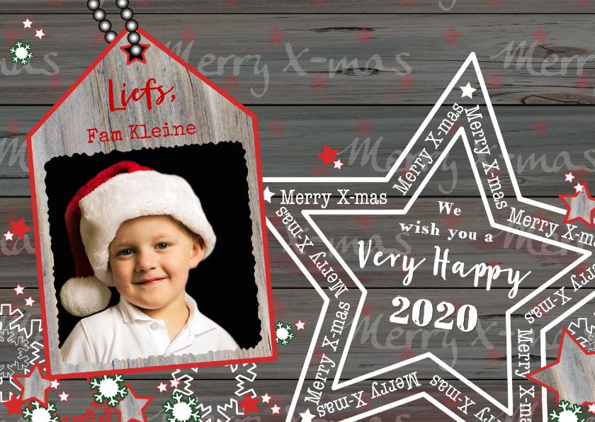 Kerstkaarten - Kerst foto kaart met houtprint en ster