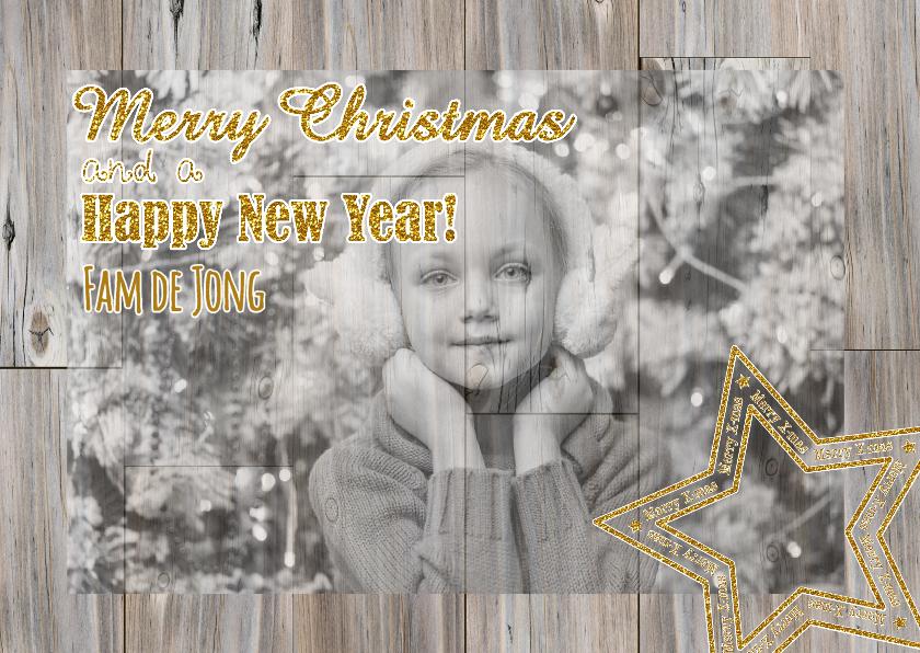 Kerstkaarten - Kerst foto op hout glitter