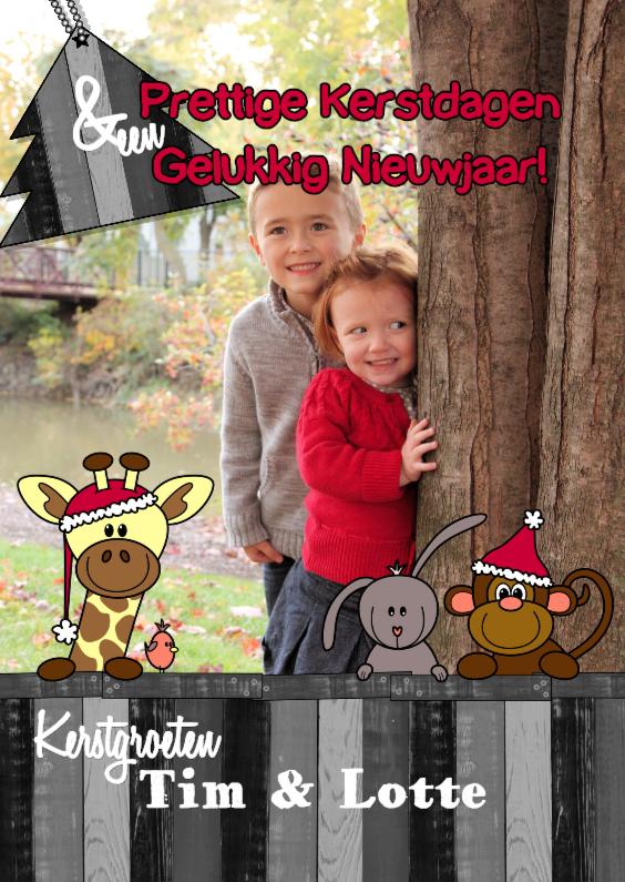 Kerstkaarten - kerst foto vrolijke dieren S-HB