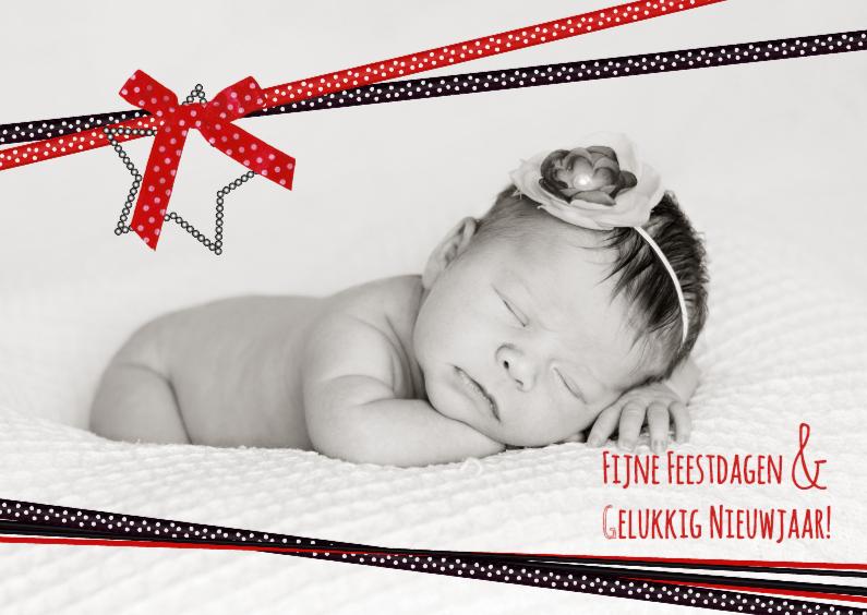 Kerstkaarten - Kerst foto zwart rood lint L-HB