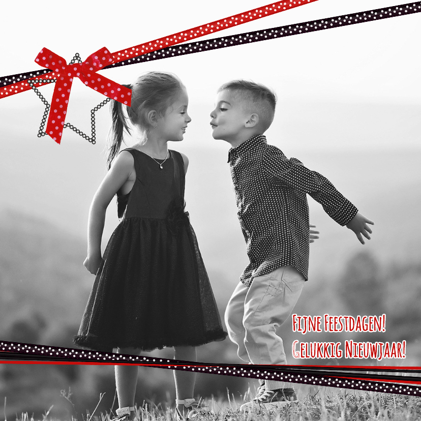 Kerstkaarten - Kerst foto zwart rood lint V-HB
