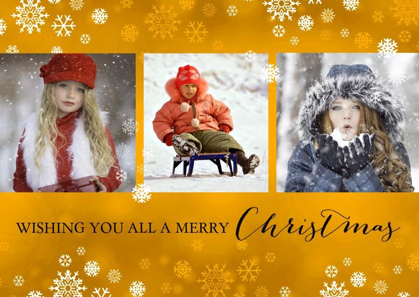 Kerstkaarten - Kerst fotocollage goud met sneeuwvlokken