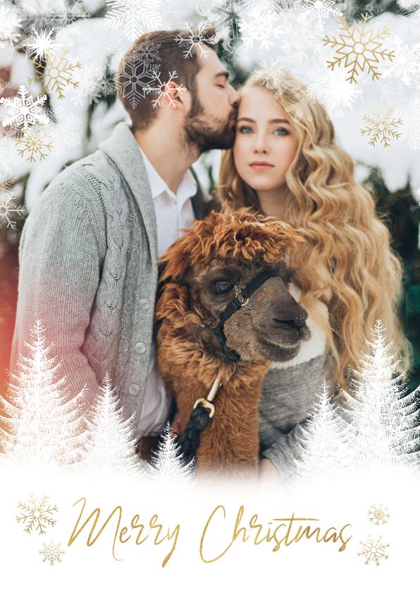 Kerstkaarten - Kerst fotokaart boompjes, sneeuwvlokken en 'Merry Christmas'