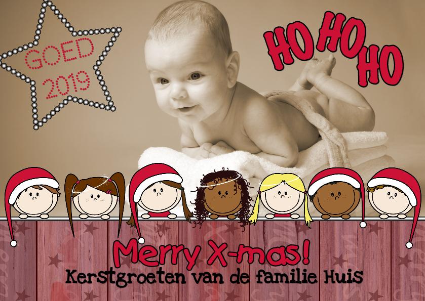 Kerstkaarten - KERST fotokaart kerstkindjes L