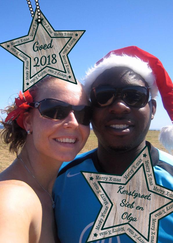 Kerstkaarten - KERST Fotokaart met houten ster