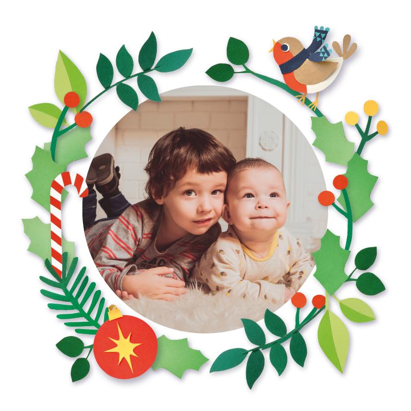 Kerstkaarten - Kerst fotokaart met roodborstje