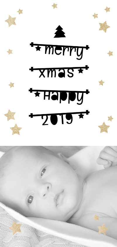 Kerstkaarten - Kerst Fotokaart met tekstslingers en gouden sterren 2019