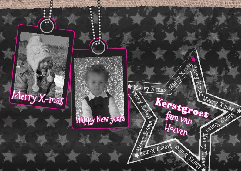 Kerstkaarten - KERST fotokaart ster grijs rozeL
