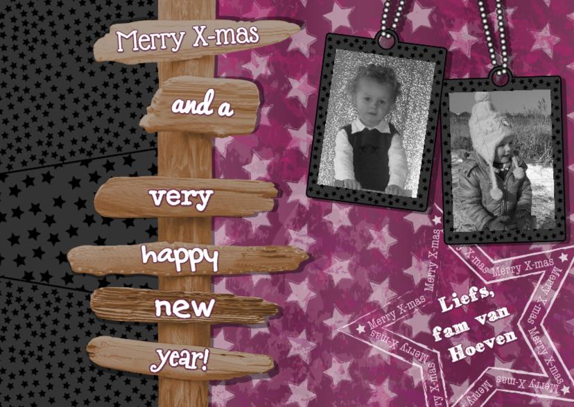 Kerstkaarten - KERST fotokaart Ster paal paarsL